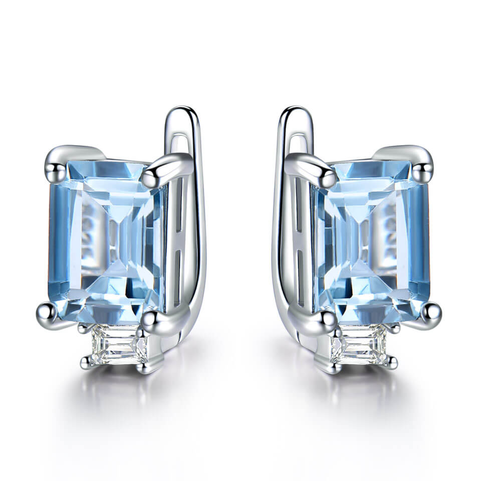 Princess-Cut Topaz Clip Earrings