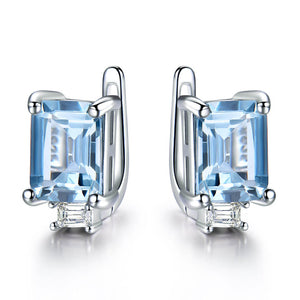 Load image into Gallery viewer, Princess-Cut Topaz Clip Earrings