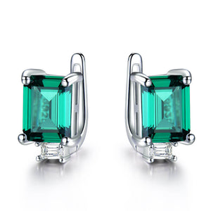 Load image into Gallery viewer, Princess-Cut Emerald Clip Earrings
