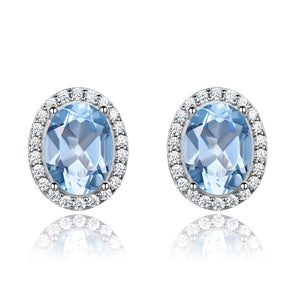 Oval Topaz Stud Earrings