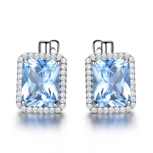 Load image into Gallery viewer, Square Topaz Clip Earrings