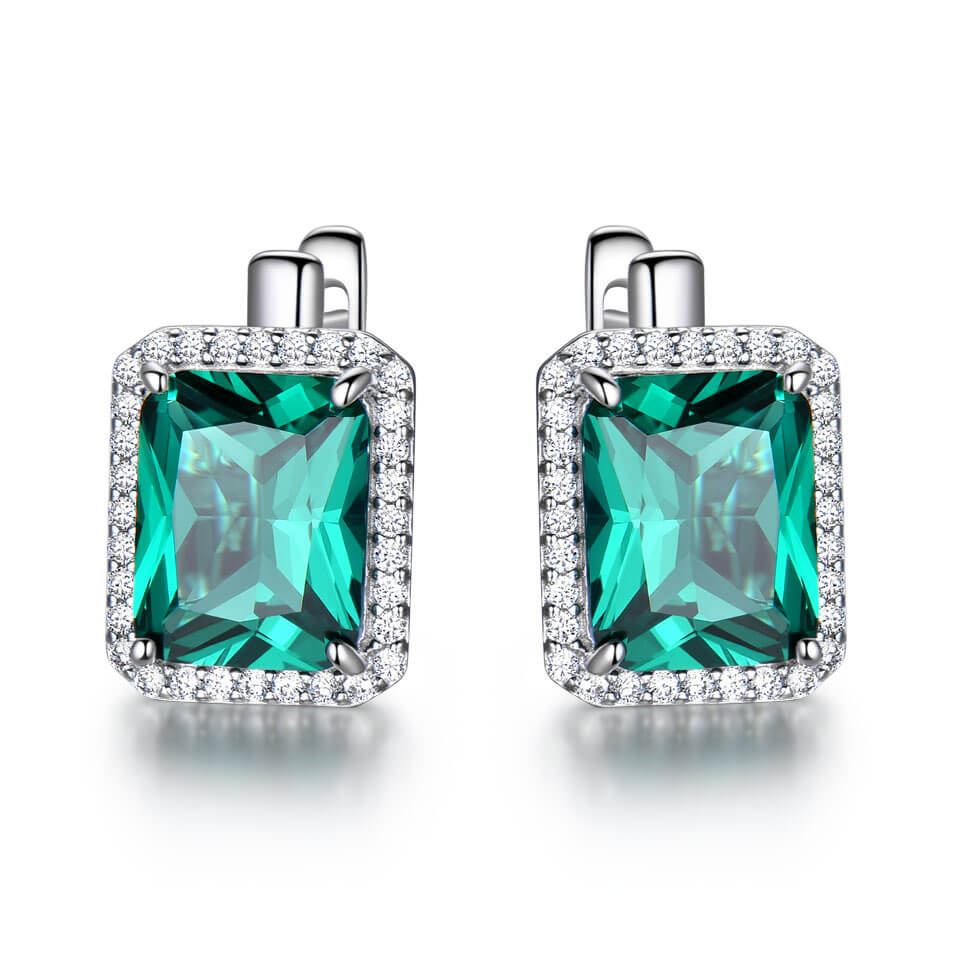 Load image into Gallery viewer, Square Emerald Clip Earrings