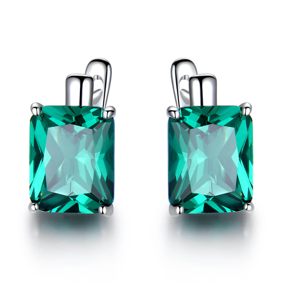 8.0ct Emerald Gemstone Clip Earrings