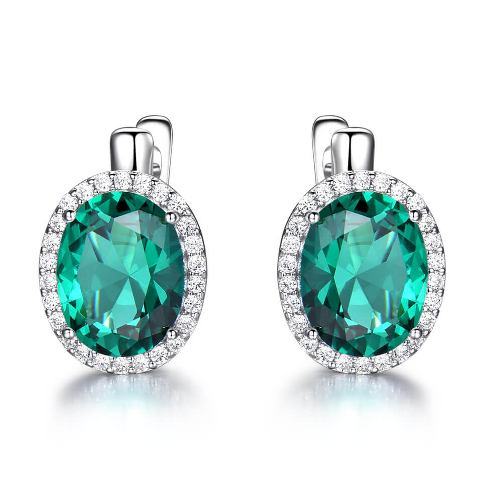 Load image into Gallery viewer, Oval Emerald Clip Earrings
