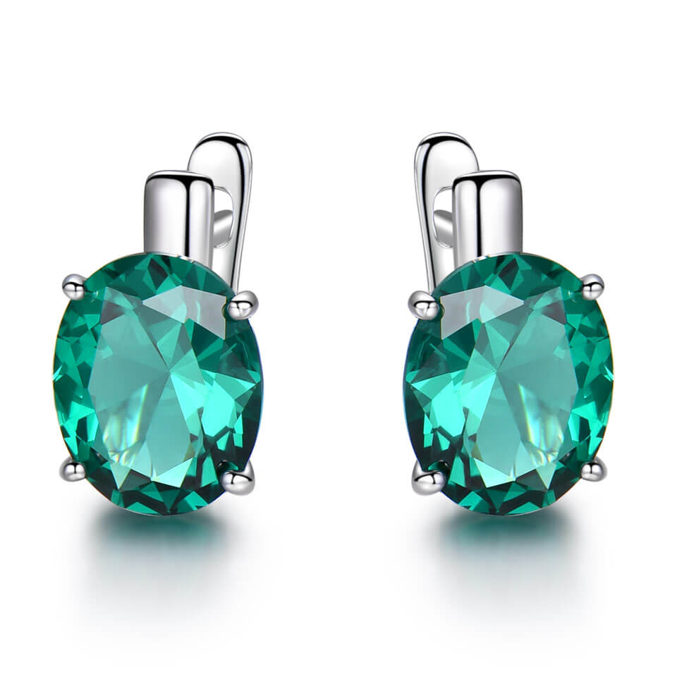 Oval Emerald Gemstone Earrings