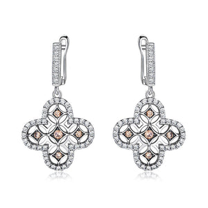 Load image into Gallery viewer, Flower Yellow Zircon Earrings