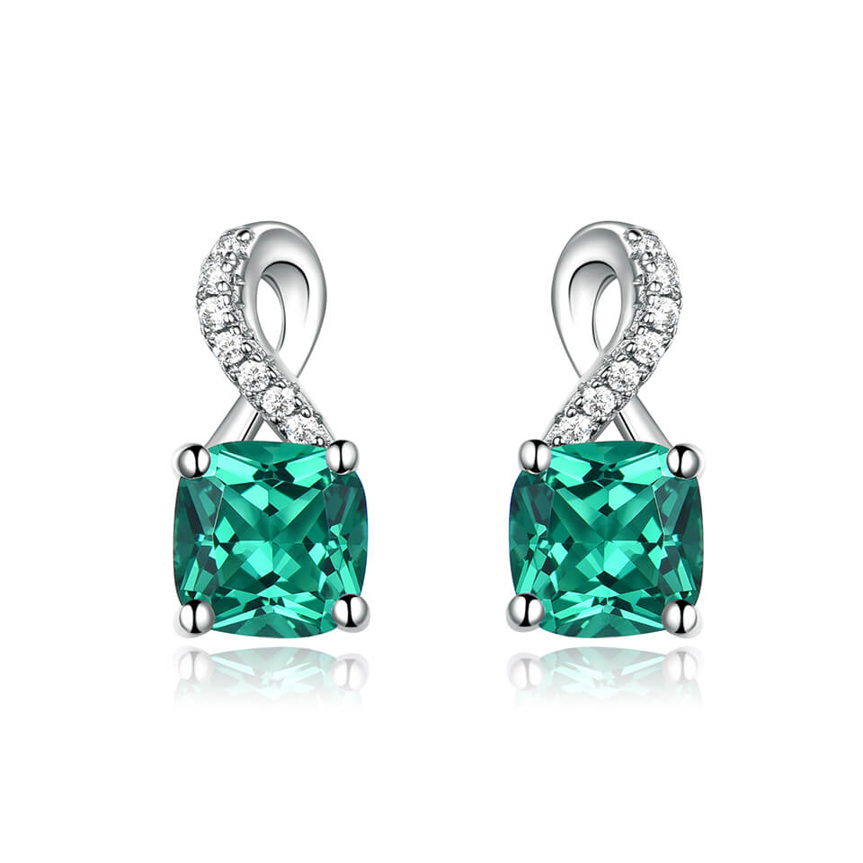 Load image into Gallery viewer, Emerald Gemstone Clip Earrings