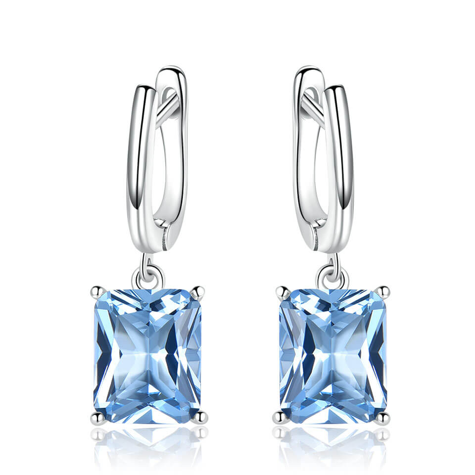 Nano Blue Topaz Drop Earrings