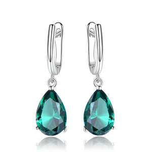 Genuine Silver Emerald Earrings
