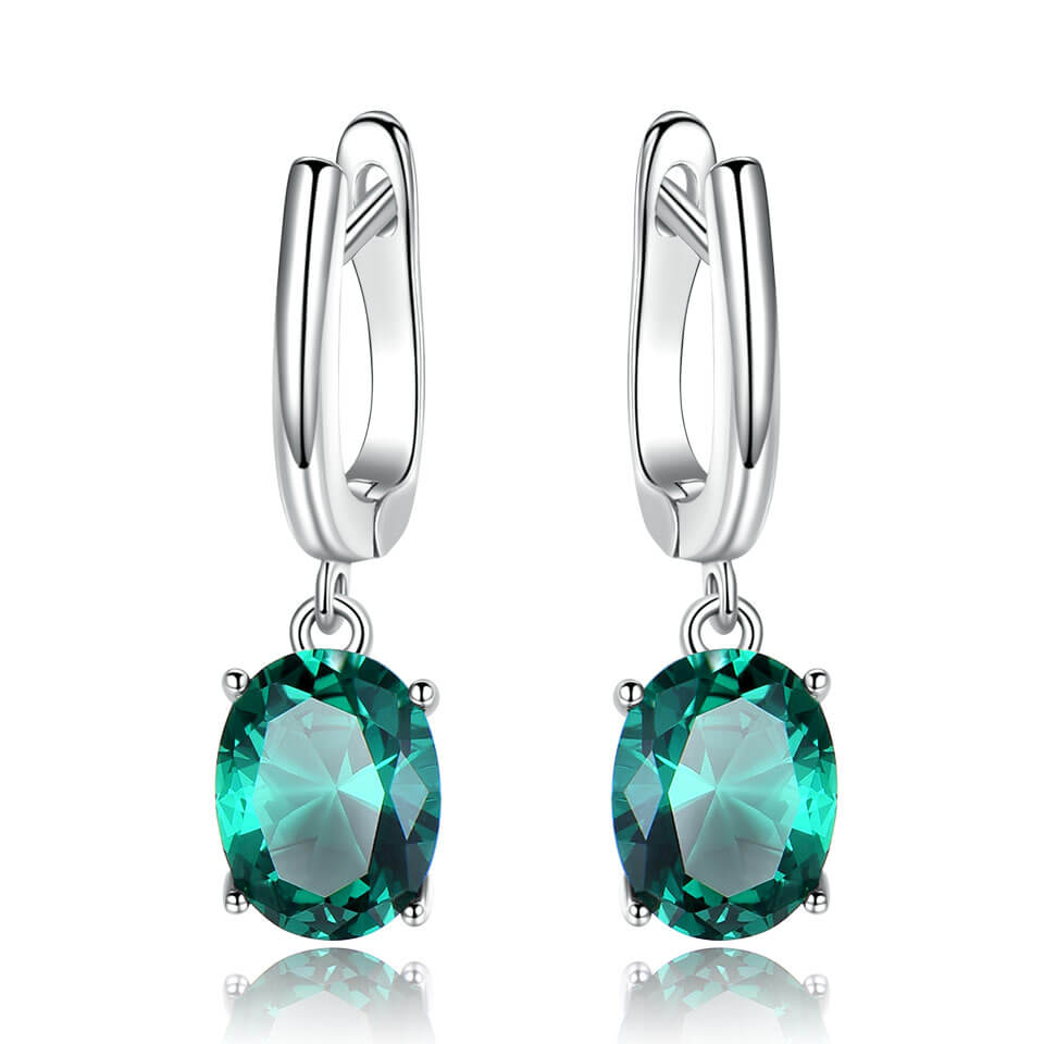Load image into Gallery viewer, Created Emerald Gemstone Earrings