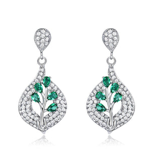 Load image into Gallery viewer, Nano Emerald Gemstone Wedding Earrings