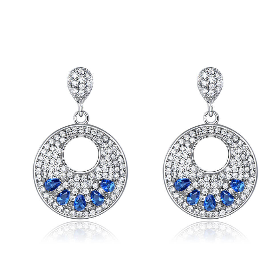 Load image into Gallery viewer, Sapphire Silver Earrings