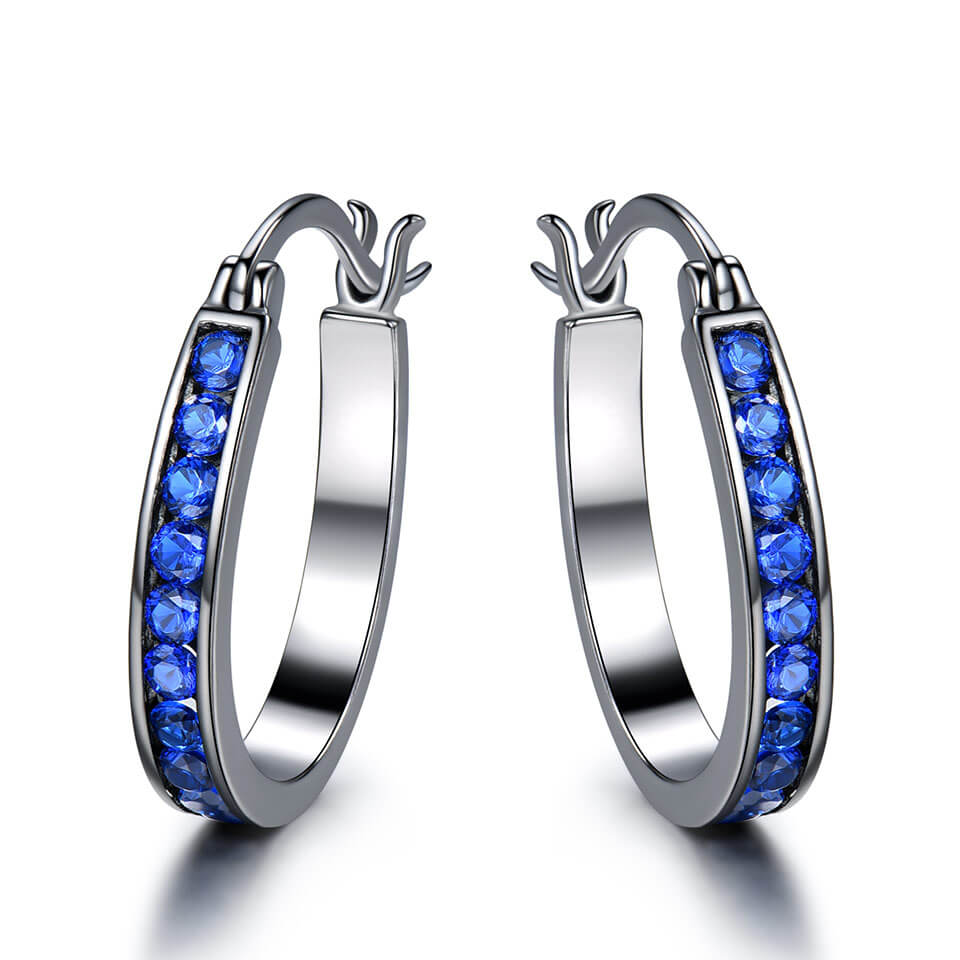 Sapphire Gemstone Silver Clip Earrings