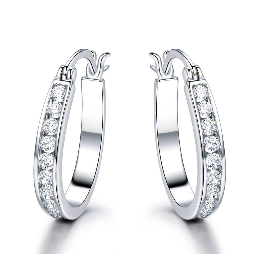 White Zircon Silver Clip Earrings