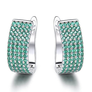 Load image into Gallery viewer, Emerald Silver Clip Earrings