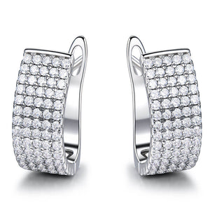 Zircon Silver Clip Earrings