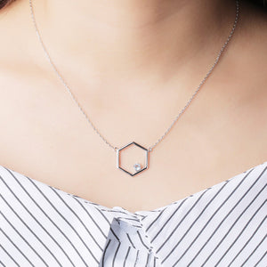 Load image into Gallery viewer, Hexagon Blue Necklace