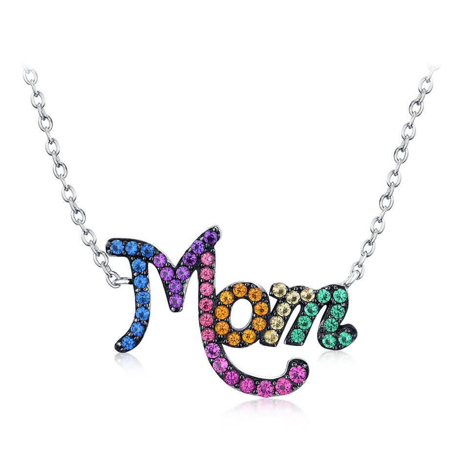 Rainbow Mom Letter Necklace