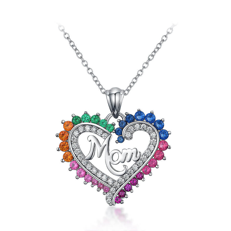Colorful Mom Heart Nceklace