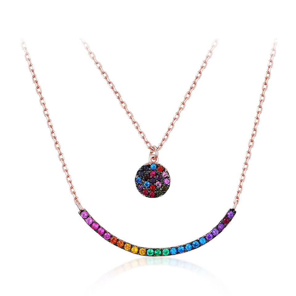 Colorful Gemstone Smile Necklace