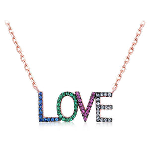 Rainbow LOVE Letter Necklace