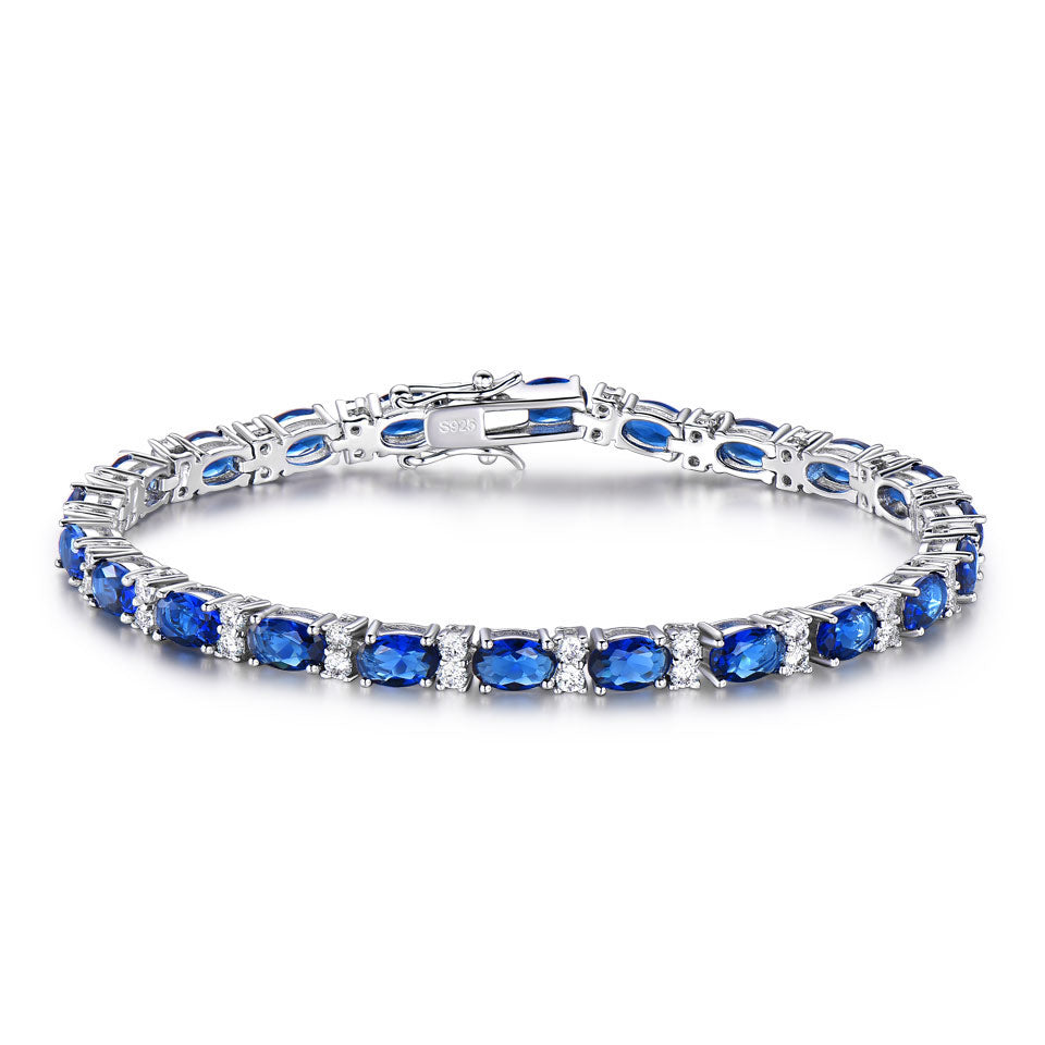 Load image into Gallery viewer, Silver Blue Spinel Bracelet