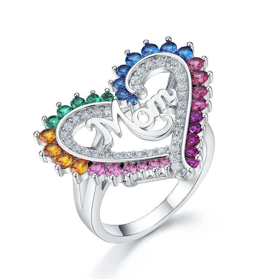 Colorful Mom Letter Ring