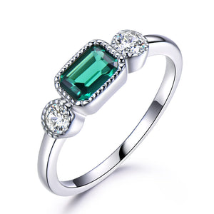 Load image into Gallery viewer, Nano Emerald Silver Ring