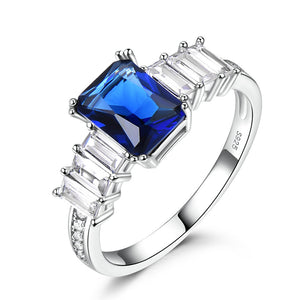 Rectangle Sapphire Silver Ring