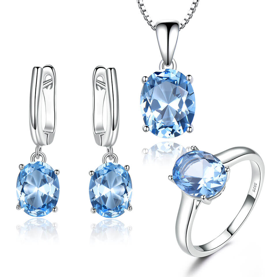Topaz Gemstone Wedding Jewelry Set