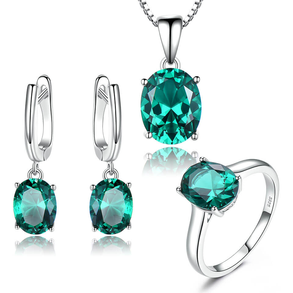 Emerald Gemstone Wedding Jewelry Set