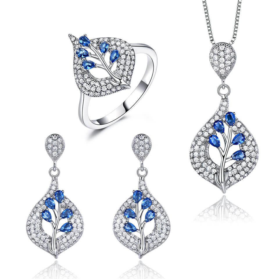 Load image into Gallery viewer, Silver Sapphire Jewels Set
