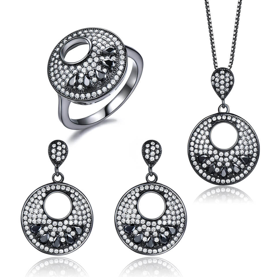 Black Color Fine Jewelry Set