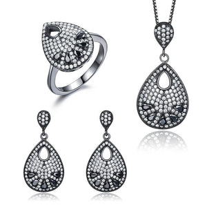 Black Spinel Silver Jewlery Set