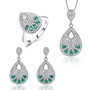 Load image into Gallery viewer, Emerald Silver Jewlery Set