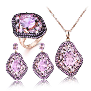 Load image into Gallery viewer, Pink Moganite Jewelry Set