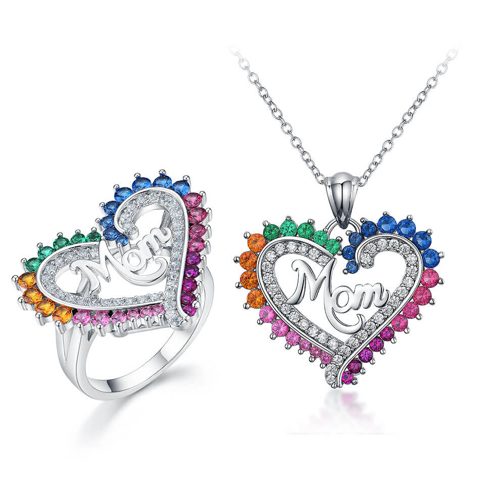 MOM Heart Pendant Necklace Set