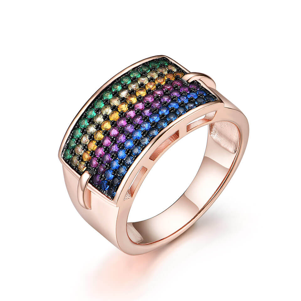 Colorful Rainbow Gemstone Ring