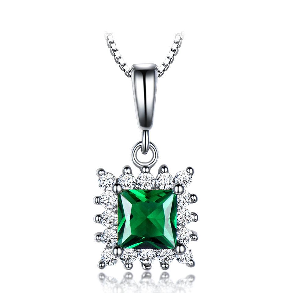 Load image into Gallery viewer, Sterling Silver Emerald Pendant