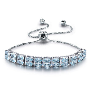 Load image into Gallery viewer, Sky Blue Topaz Gemstone Silver Bracelet