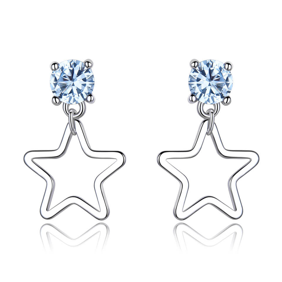 Star Blue Topaz Gemstone Earrings