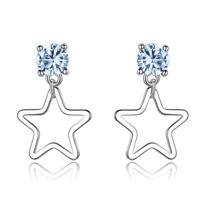 Load image into Gallery viewer, Star Blue Topaz Gemstone Earrings