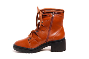 *Whisky Leather Combat Boots