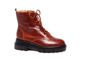 *Coffee Brown Leather Combat Boots