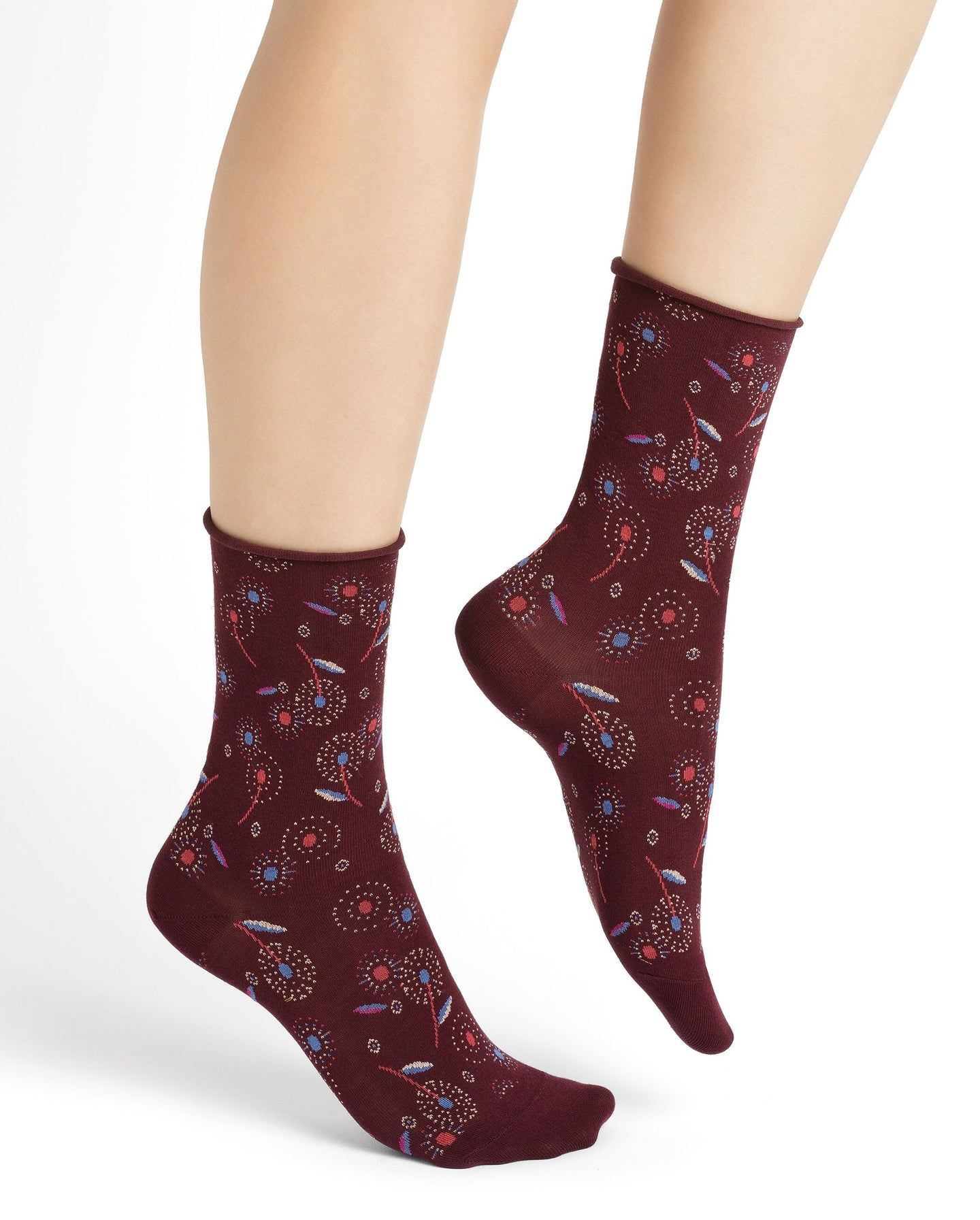 6250 Velvet Cotton Socks with Dandelion Pattern