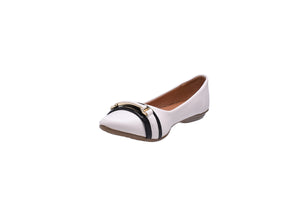 Pearl and Black Ballerina Flats