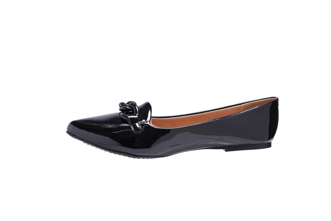 Black Patent, Pointed-Toe, Ballerina Flats