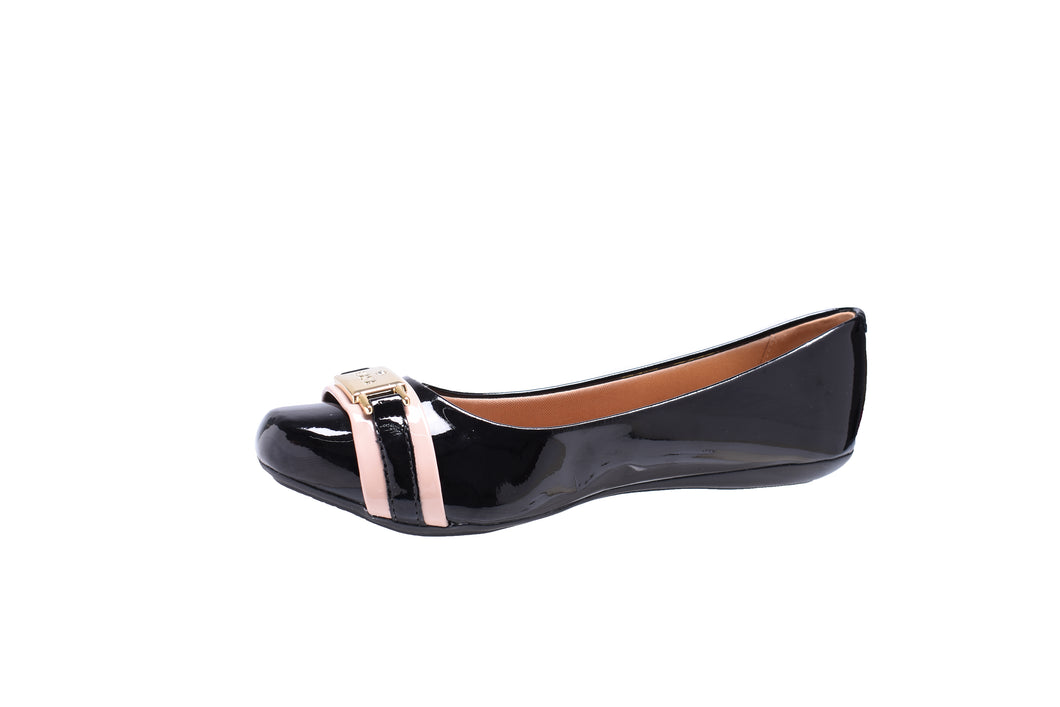 Black Patent and Pink Ballerina Flats