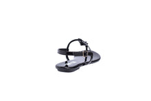 Load image into Gallery viewer, Black Patent, Flat T-Strap Sandals