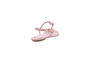 Nude Patent, Flat T-Strap Sandals